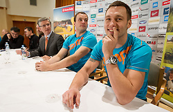 Franjo Bobinac,  Uros Zorman and Luka Zvizej at press conference of Slovenian Handball Men National Team, on January 13, 2011, in Zrece, Slovenia. (Photo by Vid Ponikvar / Sportida)