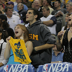17 December 2008:  New Orleans Hornets fans celebrate during a 90-83 victory by the New Orleans Hornets over the San Antonio Spurs at the New Orleans Arena in New Orleans, LA..