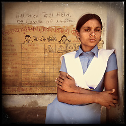 iPhone portrait of Mamta Bairwa, 17, in a village of Rajasthan, India, April 3, 2013. &quot;It becomes very sad to have children at a young age and not be able to take care of them. If I would get married at a young age then I would not be able to study. I would not be able to write. How would I handle the education of the children? With an education, one can achieve. With marriage at a young age we are unable to study, one gets no education. One remains illiterate. If marriage happens later, then one can look for an educated partner. And then marriage happens at the right time,&quot; said Bairwa.<br /> <br /> Under Indian law, children younger than 18 cannot marry. Yet in a number of India&rsquo;s states, at least half of all girls are married before they turn 18, according to statistics gathered in 2012 by the United Nations Population Fund (UNFPA). However, young girls in the Indian state of Rajasthan&mdash;and even a few boys&mdash;are getting some help in combatting child marriage. In villages throughout Tonk, Jaipur and Banswara districts, the Center for Unfolding Learning Potential, or CULP, uses its Pehchan Project to reach out to girls, generally between the ages of 9 and 14, who either left school early or never went at all. The education and confidence-building CULP offers have empowered young people to refuse forced marriages in favor of continuing their studies, and the nongovernmental organization has provided them with resources and advocates in their fight.
