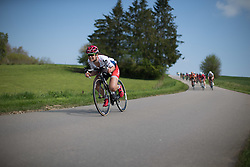 Joelle Numainville (CAN) of Cervélo-Bigla Cycling Team tackles a speedy downhill section in the first short lap during the second, 110.1km road race stage of Elsy Jacobs - a stage race in Luxembourg in Garnich on May 1, 2016.