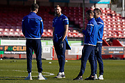 Macclesfield Town players come out to inspect the pitch during the EFL Sky Bet League 2 match between Crawley Town and Macclesfield Town at The People's Pension Stadium, Crawley, England on 23 February 2019.