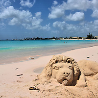 Lion Sand Sculpture at Browne&rsquo;s Beach in Bridgetown, Barbados<br />