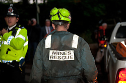 © licensed to London News Pictures  15/09/2011 .  Pontardawe,UK. Activity Contiues into the night as operation is underway to rescue four miners trapped in a mine in the Swansea Valley. Photo credit :Aled Llywelyn/LNP