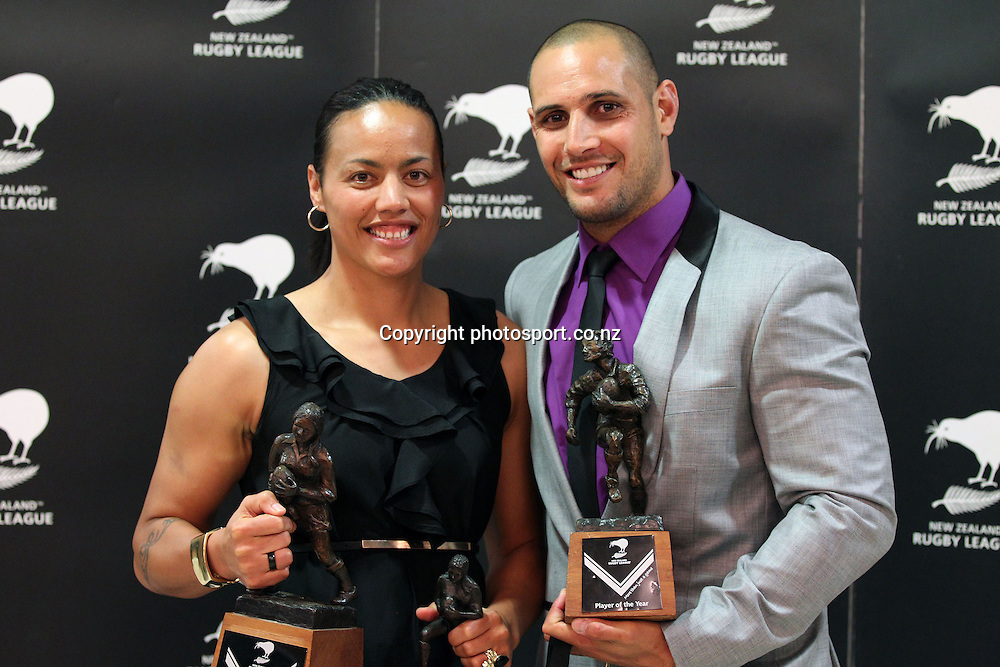 Kiwi Player of the Year Jeremy Smith with Womens Player of the Year Honey Hireme at the 2012 New Zealand Rugby League Awards at Westpac House, Britomart, Auckland Wednesday, November 7