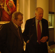 Lucian Freud and Lord Rothschild, Opening of an exhibition of watercolours by David Hockney. Midsummer: East Yorkshire 2004, Gilbert Collection. Somerset House. 16  November 2005 . ONE TIME USE ONLY - DO NOT ARCHIVE © Copyright Photograph by Dafydd Jones 66 Stockwell Park Rd. London SW9 0DA Tel 020 7733 0108 www.dafjones.com