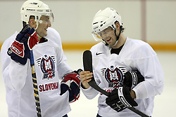 Miha Rebolj and Andrej Hebar at practice of Slovenian national team before Hockey IIHF WC 2008 in Halifax,  on May 01, 2008 in Metro Center, Halifax, Canada.  (Photo by Vid Ponikvar / Sportal Images)