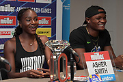 Dina Asher-Smith  (GBR), left, and Omar McLeod (JAM) at a press conference prior to the London Anniversary Games, Friday, July 19, 2019, in London, United Kingdom.