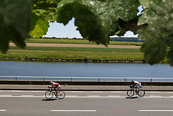 21.06.2014, Remich, LUX, Ergo Ironman 70.3, im Bild Radfahrer entlang der Mosel // during the Ergo Ironman 70.3 in Remich, Luxembourg on 2014/06/21. EXPA Pictures © 2014, PhotoCredit: EXPA/ Eibner-Pressefoto/ Schueler<br /> <br /> *****ATTENTION - OUT of GER*****