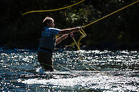 Fly fishing on the North Umpqua River. Cascade Mountains, Oregon.