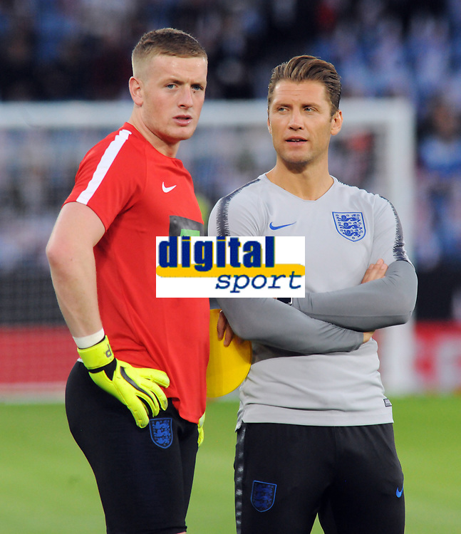 Football - 2018 / 2019 International Friendly - England vs. Switzerland<br /> <br /> Allan Russell - Scottish England coach with goalkeeper Jordan Pickford, at King Power Stadium.<br /> <br /> COLORSPORT/ANDREW COWIE
