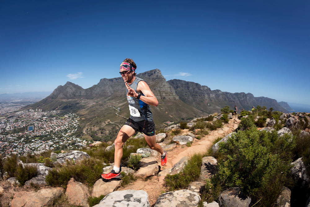 Ryan Sandes has time for a smile during the Red Bull Lion Heart, on Lions Head, Cape Town, South Africa, 9 November 2013