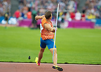 Athletics - 2017 IAAF London World Athletics Championships - Day Nine, Evening Session<br /> <br /> Mens Decathlon - Javelin<br /> <br /> Pieter Braun (Netherlands)  launches the javelin at the London Stadium<br /> <br /> COLORSPORT/DANIEL BEARHAM