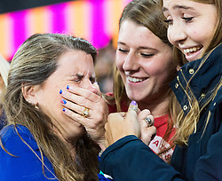 London, August 11 2017 . Overcome with emotion, Courtney Frerichs' (USA) mother and sisters, after her daughter claims silver in the women's 3000m steeplechase final on day eight of the IAAF London 2017 world Championships at the London Stadium. © Paul Davey.