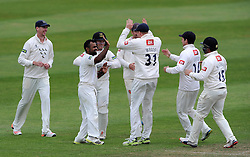 Sussex's Ashar Zaidi celebrates the wicket of Somerset's Jim Allenby - Photo mandatory by-line: Harry Trump/JMP - Mobile: 07966 386802 - 08/07/15 - SPORT - CRICKET - LVCC - County Championship Division One - Somerset v Sussex- Day Four - The County Ground, Taunton, England.