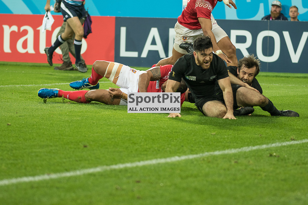 New Zealand #14 Nehe Milner-Skudder scores another second half try. <br /> New Zealand v Tonga, 9th October 2015