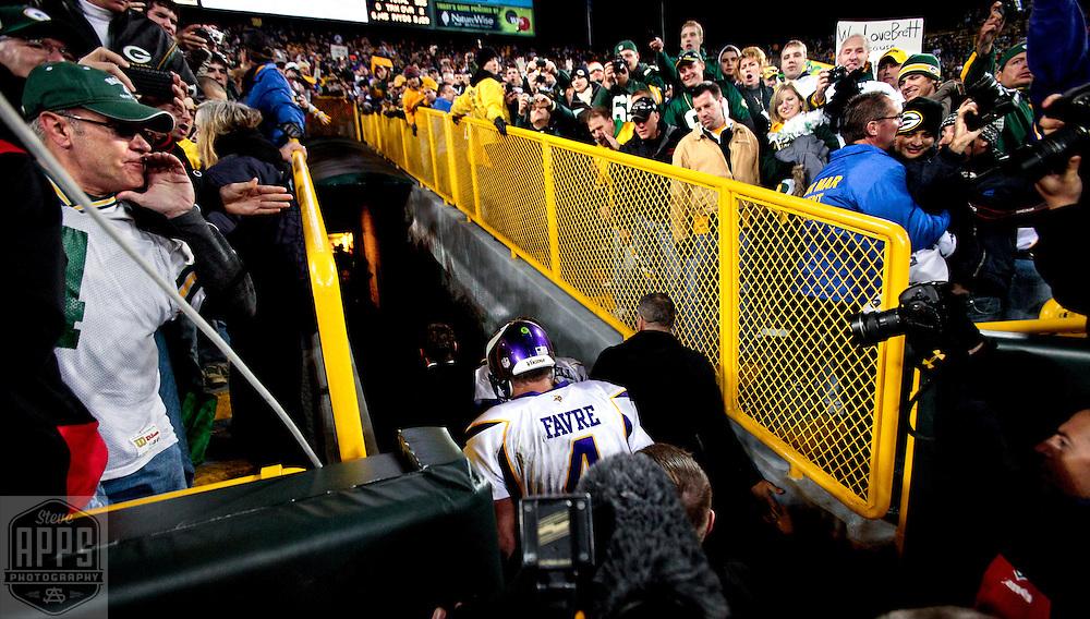 Minnesota Vikings' Brett Favre walks down the tunnel after beating the Packers. .The Green Bay Packers hosted the Minnesota Vikings at Lambeau Field Sunday November 1, 2009. Steve Apps-State Journal.
