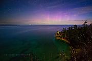 Miner's Castle, moonlit, aurora, Pictured Rocks, Lake Superior