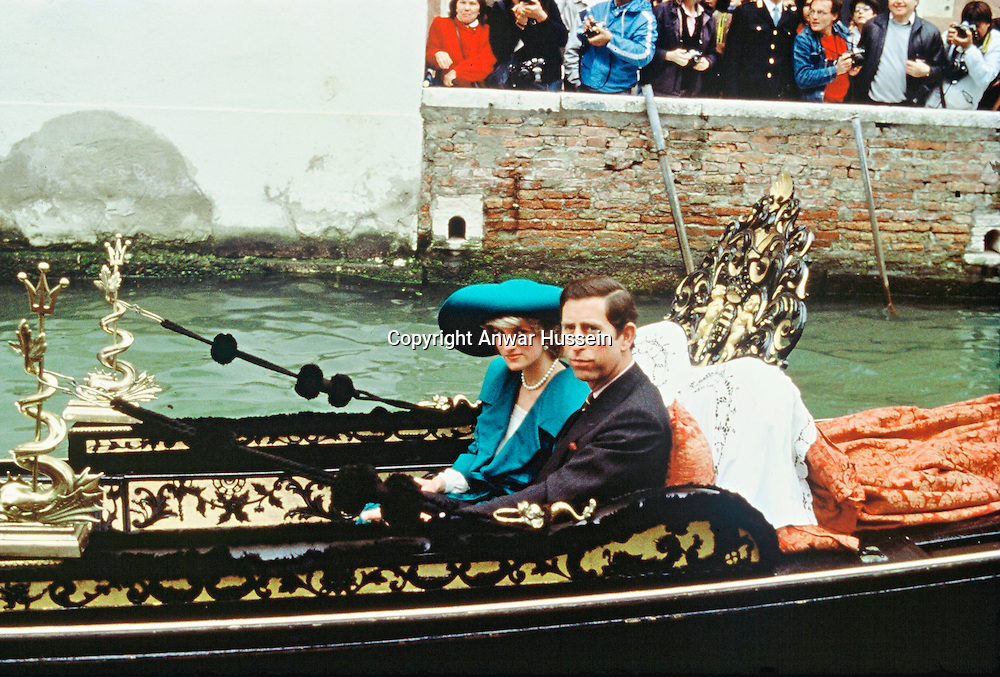An April 1985 photo of Princess Diana and Prince Charles on a Gondola in Venice.  <br /> Venice, ITALY - 04/1985.