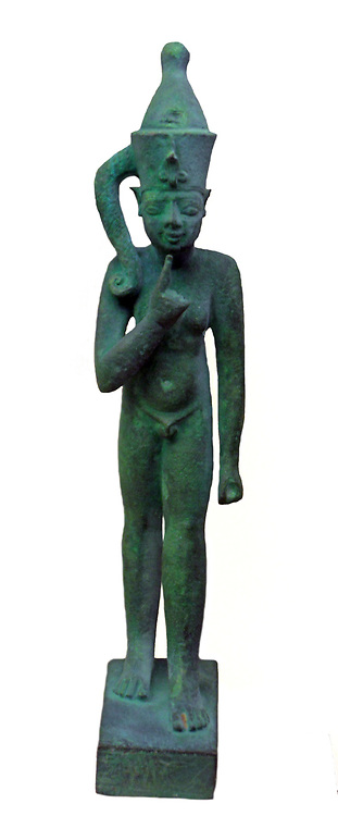 Bronze figure of a Pharaoh.  Late period 600-100 BC