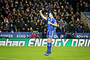 Leicester City defender Harry Maguire (15) celebrates scoring the opening penalty in the shoot out during the quarter final of the EFL Cup match between Leicester City and Manchester City at the King Power Stadium, Leicester, England on 18 December 2018.