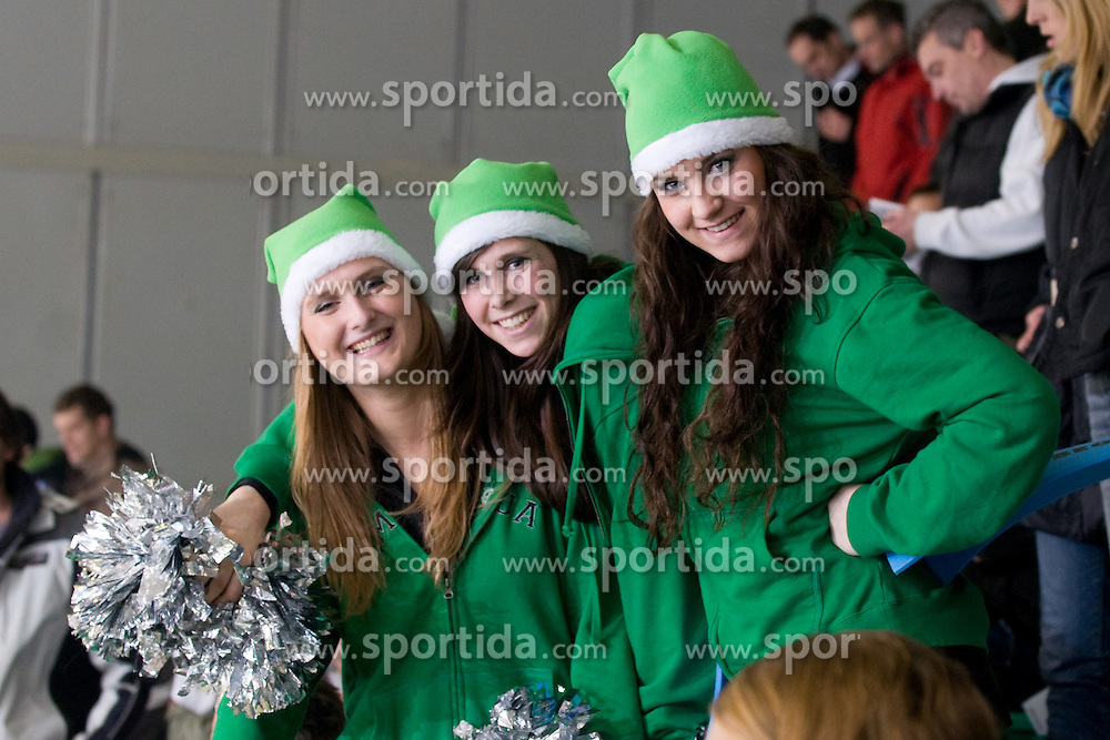 Cheerleaders Ice Ladies during ice-hockey match between HDD Tilia Olimpija and EC Red Bull Salzburg in 29th Round of EBEL league, on December 23, 2010 at Hala Tivoli, Ljubljana, Slovenia. (Photo By Matic Klansek Velej / Sportida.com)
