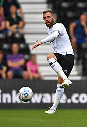 """Derby County's Richard Keogh  during a pre season friendly match at Pride Park, Derby. PRESS ASSOCIATION Photo. Picture date: Saturday July 21, 2018. Photo credit should read: Anthony Devlin/PA Wire. EDITORIAL USE ONLY No use with unauthorised audio, video, data, fixture lists, club/league logos or """"live"""" services. Online in-match use limited to 75 images, no video emulation. No use in betting, games or single club/league/player publications."""