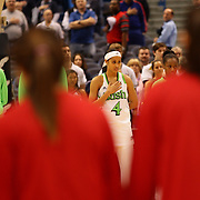 Skylar Diggins, Notre Dame, during the National Anthem before the Notre Dame Fighting Irish V Louisville Cardinals Semi Final match during the Big East Conference, 2013 Women's Basketball Championships at the XL Center, Hartford, Connecticut, USA. 11th March. Photo Tim Clayton
