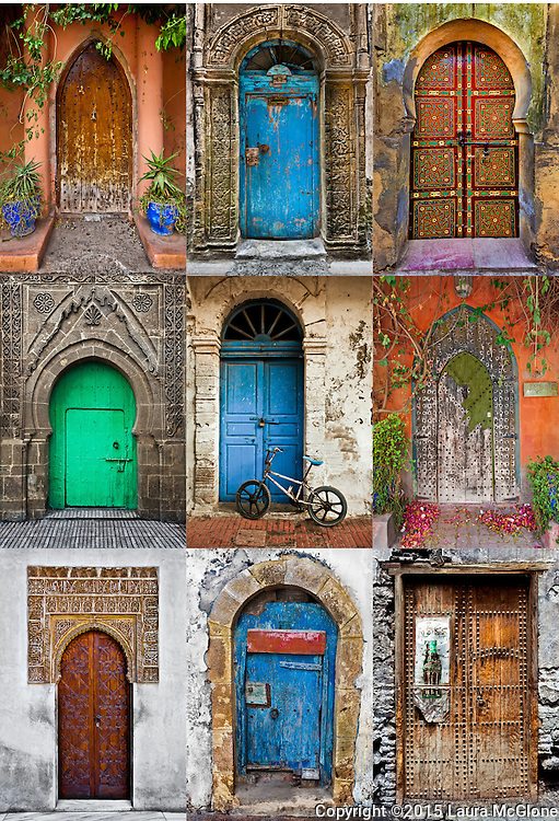 Moroccan Doors Collage 9 Pictures