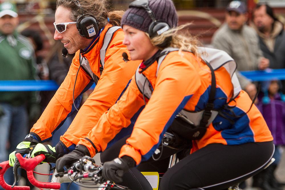 ING New York City Marathon: course monitors on bicycles