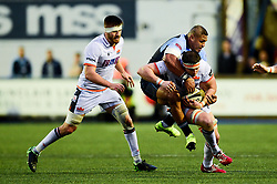 Murray Douglas of Edinburgh Rugby is tackled by Nick Williams of Cardiff Blues - Mandatory by-line: Ryan Hiscott/JMP - 05/10/2019 - RUGBY - Cardiff Arms Park - Cardiff, Wales - Cardiff Blues v Edinburgh Rugby - Guinness Pro 14