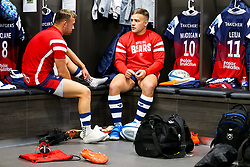 Andy Uren and Ian Madigan chat inside the Bristol Bears dressing room before the game - Rogan/JMP - 22/09/2018 - RUGBY UNION - Ashton Gate Stadium - Bristol, England - Bristol Bears v Harlequins - Gallagher Premiership Rugby.