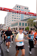 PHILADELPHIA - MAY 1: Runners pass Temple University Hospital during the Broad Street Run May 1, 2005, in Philadelphia, Pennsylvania. (Photo by William Thomas Cain)