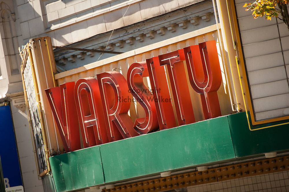 2016 October 11 - Varsity theater sign on University Way in the University District, Seattle, WA, USA. By Richard Walker
