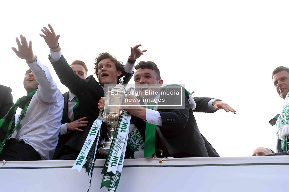 Hibernian Players travel on a open top bus through the streets of Edinburgh parading the Scottish Cup they won after beating Rangers 3-2 with captain David Gray scoring the winner in added on time.<br /> <br /> (c) Donnchadh Simpson | Edinburgh Elite media