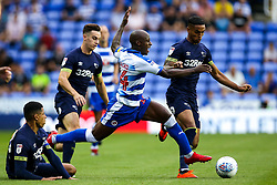 Sone Aluko of Reading is fouled by Curtis Davies of Derby County - Mandatory by-line: Robbie Stephenson/JMP - 03/08/2018 - FOOTBALL - Madejski Stadium - Reading, England - Reading v Derby County - Sky Bet Championship