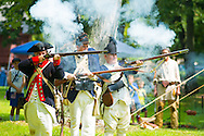 8/18/12 11:37:34 AM - Warwick, PA. -- Reenactors fire their weapons during a revolutionary war reenactment at the Moland House August 18, 2012 in Warwick, Pennsylvania. -- (Photo by William Thomas Cain/Cain Images)..
