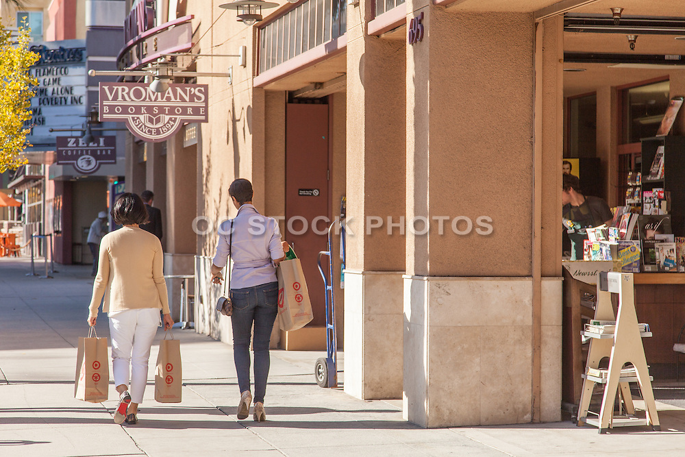Shoppers Carrying Target Bags on Colorado Boulevard in Pasadena California