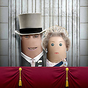"""These royal portraits created by the finger artist DITO VON TEASE<br />known as """"il Dito"""", thatÕs Italian for Òthe FingerÓ. a funny invitation to people to be curious about the complex mystery of personal identities ...  <br /><br />Photo shows: Queen and Prince Phillip<br />©Exclusivepix Media"""