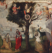 The Tree of Good and Madness, oil painting on canvas, c. 1560, by an unknown artist from Picardie, in the Musee des Beaux-Arts de la Ville de Blois, housed since 1869 on the first floor of the Louis XII wing of the Chateau Royal de Blois, built 13th - 17th century in Blois in the Loire Valley, Loir-et-Cher, Centre, France. This is a moralising painting like the danses macabres, with a young man in the tree playing the lute, with religion followed by an angel, and flesh followed by the devil. At the foot of the tree Christ rings the hours surrounded by a kneeling St Catherine and by death. The inscriptions on the banners exhort the young man to prefer good over evil. The chateau has 564 rooms and 75 staircases and is listed as a historic monument and UNESCO World Heritage Site. Picture by Manuel Cohen