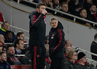Football - 2018 / 2019 FA Cup - Fourth Round: Arsenal vs. Manchester United <br /> <br /> Michael Carrick gives the thumbs up to his team after they take the lead at The Emirates Stadium.<br /> <br /> COLORSPORT/DANIEL BEARHAM