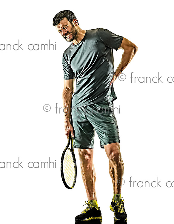 one caucasian mature tennis player man physical pain injury in studio isolated on white background
