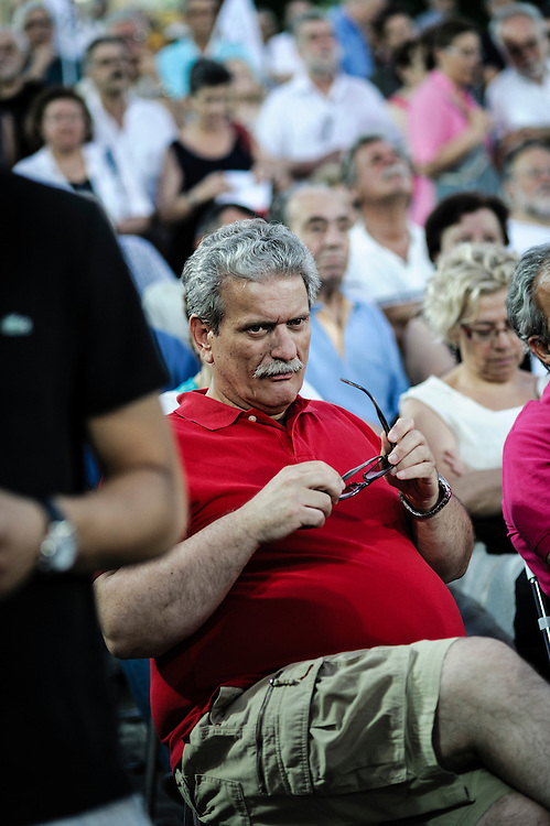 GREECE ATHENS 13 JUNE 2012 People attend the election campain speech of Fotis Kouvelis, leader of Dimokratiki Aristera (Democratic Left)