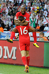 23.06.2010, Nelson Mandela Bay Stadium, Port Elizabeth, RSA, FIFA WM 2010, Slovenia (SLO) and England (ENG), im Bild Jermain Defoe of England celebrates scoring the 1st goal with James Milner of England. EXPA Pictures © 2010, PhotoCredit: EXPA/ IPS/ Marc Atkins / SPORTIDA PHOTO AGENCY