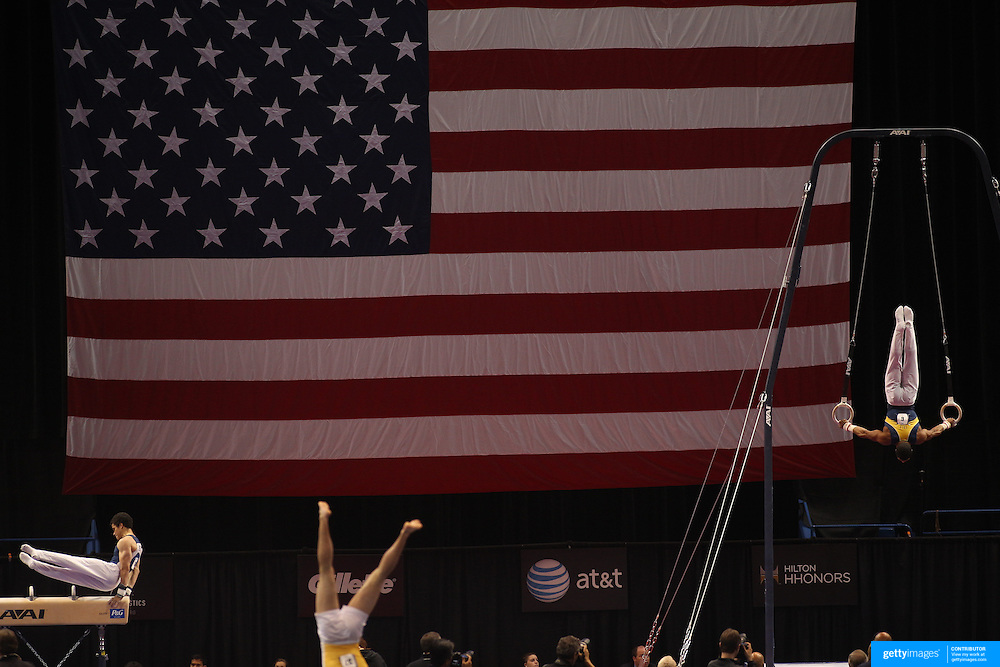 Donothan Bailey, Berkeley, California, (left) and Stacey Ervin, Ann Arbor, Michigan,  in action during the Senior Men Competition at The 2013 P&G Gymnastics Championships, USA Gymnastics' National Championships at the XL, Centre, Hartford, Connecticut, USA. 16th August 2013. Photo Tim Clayton