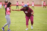 CAPE TOWN, SOUTH AFRICA - MARCH 10: Asnique Robinson of UWC with Team USA coach Sharrieffa Barksdale during the TrackGirlz events at University of Western Cape on March 10, 2018 in Cape Town, South Africa. (Photo by Roger Sedres/ImageSA)