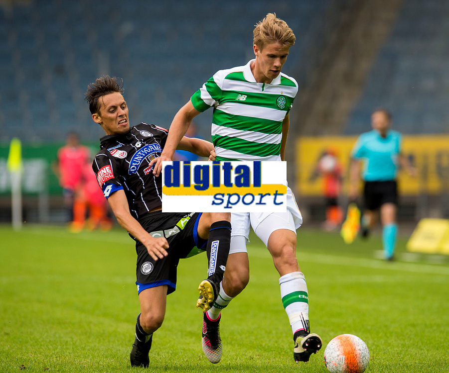 03/07/16 PRE-SEASON FRIENDLY<br /> STURM GRAZ V CELTIC<br /> STADUIM GRAZ LIEBENAU - AUSTRIA<br /> Celtic's Kristoffer Ajer (right) in action against Uros Matic (left)