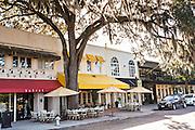 Historic downtown shops along Park Avenue in Winter Park, Florida.