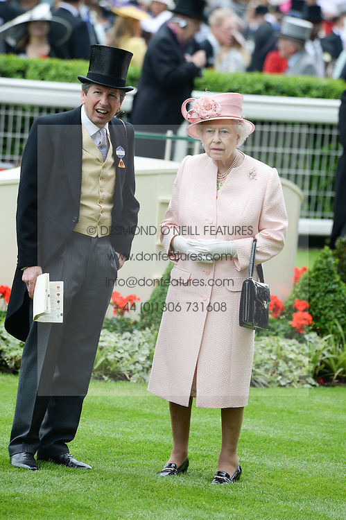 HM The QUEEN and JOHN WARREN at Day 1 of the 2013 Royal Ascot Racing Festival at Ascot Racecourse, Ascot, Berkshire on 18th June 2013.