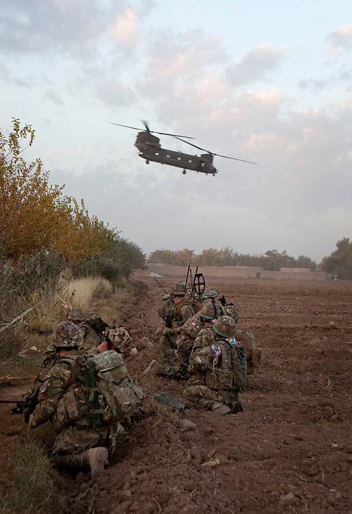 British soldiers from 1PWRR (Princess of Wales's Royal Regiment) are involved in an ongoing series of Operations called Tora Pishaw aimed at disrupting insurgent activity in their AO (Area of Operations). During the most recent 4 day operation the troops were inserted by helicopter and searched a series of compounds, questioning local people as well as engaging in sporadic firefights with the insurgents. Loya Manda,  Nad I Ali North, Helmand Province, Afghanistan on the 11th of November 2011.