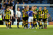 Tempers raise between Chesterfield FC miffielder Sam Morsy and Burton Albion players after the Sky Bet League 1 match between Chesterfield and Burton Albion at the Proact stadium, Chesterfield, England on 26 September 2015. Photo by Aaron Lupton.